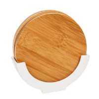 White Bamboo Round Coaster Set of 4 in Stand